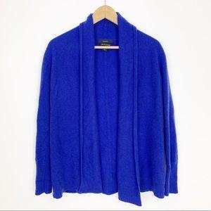 Tahari 2-Ply Cashmere Cardigan in Peacock Blue